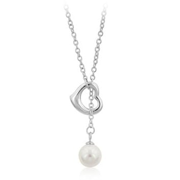 Silver Heart Pearl Lariat Drop Necklace