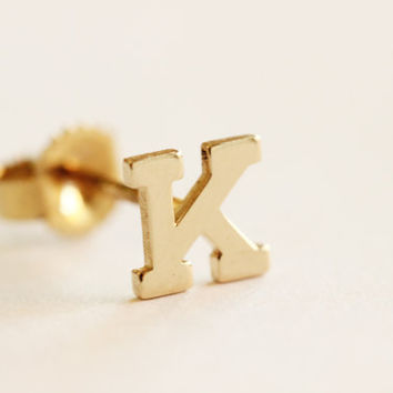 Alphabet initial earring ,14k solid gold initial studs,personalized alphabet,letter initial ,Stud monogram, Name Earring, Engraved Earrins