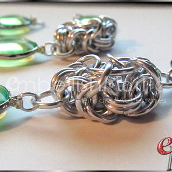 Fun and Chunky Peridot links with modified byzantine necklace / bracelet set! Fantastic Gift for August Birthday women! Lead and Nickel free