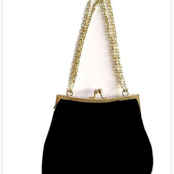 Vintage 40s Black SILK VELVET Evening Bag with Silver Chain. Antique Velvet Frame Bag. Black Velvet Chain Purse
