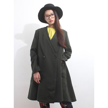 V-Neck Double-Breasted Asymmetric A-Line Coat