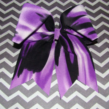 Purple and Black Streaked Cheer Bow by isparklethat on Etsy