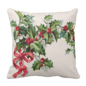 Holly Winterberry Red Ribbon Throw Pillow