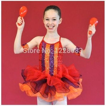 ONETOW Free Shipping New 2015 Dnacewear Ballet Sequin Rainbow Kids Adult Red Tutu Toddler Ballet Clothes Tutus For Teens