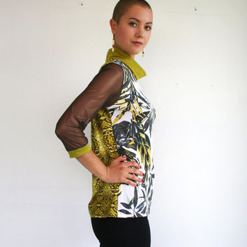 Turtleneck with 3/4 sleeves, animal and jungle print in brown, gray and chartreuse yellow/green, size S M L, turtleneck