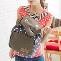 YESSTYLE: Fashion Lady- Elephant-Accent Dotted Backpack (Blue - One Size) - Free International Shipping on orders over $150