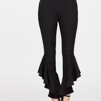 Stylish Ruffle hem crop pants