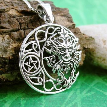 Celtic Crescent Moon Necklace With Pentacle and Green Man
