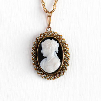 Antique Cameo Necklace - Vintage 10k Rosy Yellow Gold Black & White Onyx Pendant - Victorian 1900s Seed Pearl Halo 12K GF Chain Fine Jewelry