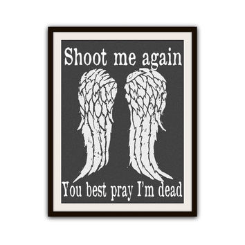 Daryl Dixon The Walking Dead Typography Poster Print