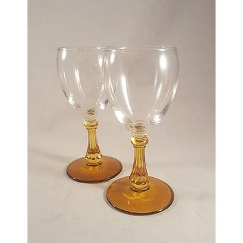 Amber Stem Cordial/Wine Glasses  S/2