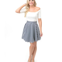 White & Navy Nautical Stripe Color Blocked Off Shoulder Flare Dress