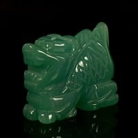 Dragon Sculptures 2 inch Natural Jade Carved Stone Animal Figurine for Home Fengshui Office Decor Natural Stone Statue Fun Toys