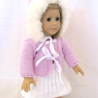 American Girl Doll Jacket Skirt Purple Fur