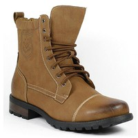 Men's Polar Fox Lace Up Military Combat Cap Toe Boot 550 Brown-163