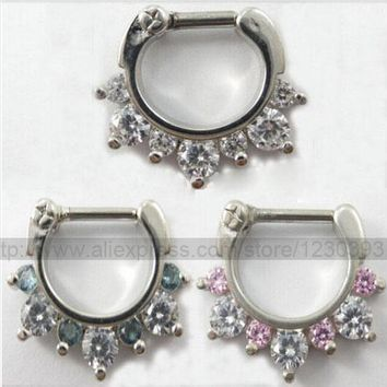 Hot Unique 316L Surgical Steel Aztec Septum Clicker Nose Ring Stud Nose Piercing Stud White and Pink or White and Blue