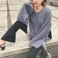 Knit Tops Women's Fashion Winter Split Butterfly Sweater [31069077530]