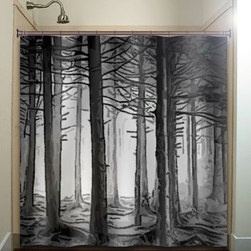 Fifty Shades Of Gray Woodland Forest Trees Shower Curtain Bathroom Decor  Fabric Kids Bath White Black