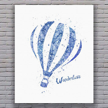 Travel Quote Wanderlust Hot Air Balloon Blue Watercolor Printable Instant Download