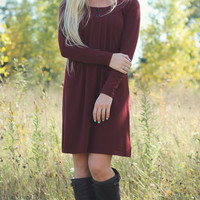 Maroon Pleated Button Dress