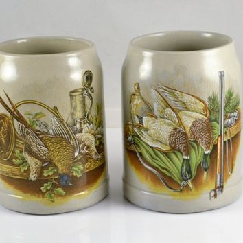 German Stoneware Beer Mugs - Game Bird Motif - Pheasants Mallard Ducks Set of 2 - Made in West Germany - 0.5L