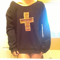 Aztec Print Cross Off The Shoulder Over Sized Sweat Shirt - Free Shipping