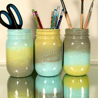 Back to School - Home, Dorm or Office Decor, Wedding - Mason Jars - Ombre Trio - Pencil Holders