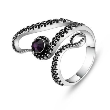 Retro Cool Titanium Octopus Ring With Classic Vintage Gothic Deep Sea Drop Shipping
