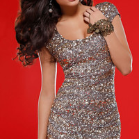 Sequin Homecoming Dress with Cap Sleeves
