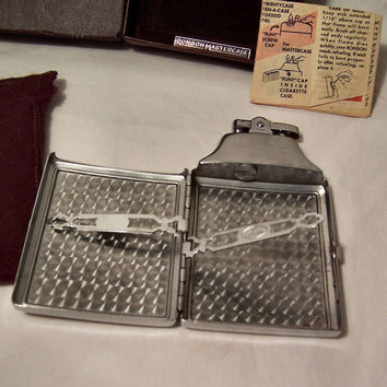 Vintage Chrome Silver Ronson Lighter Cigarette Case, Art Deco Cigarette Lighter and Case, 1930 1940 Original Box & Bag Cigarette Lighter