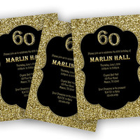 Adult Birthday Invitation - Glitter Gold and Black Birthday Party - 40th - 50th - 60th - 90th - 80th - Surprise - Man - Woman - new year