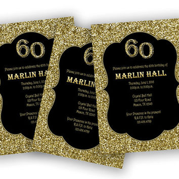 shop black and gold birthday party invitations on wanelo, Birthday invitations