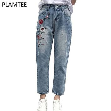 Women Embroidery Jeans Trousers Spring High Waist Pantalones Mujer 2017 Fashion Bleached Ankle-Length Pantalon Femme Plus Size