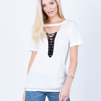 Lightweight Lace-Up Tee