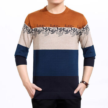 Round-neck Long Sleeve Slim Stripes Pullover Men Knit Tops T-shirts