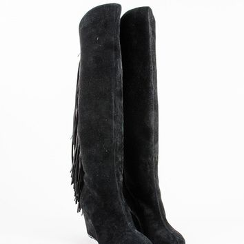 KUYOU Black Suede Fringe  Pouliche 70  Knee High Wedge Boots