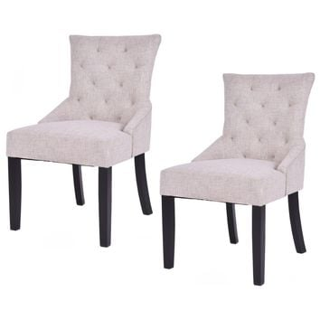 Set of 2 Modern Elegance Tufted Dining Chairs