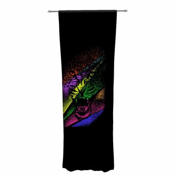 "BarmalisiRTB ""Split Apart"" Black Yellow Digital Decorative Sheer Curtain"