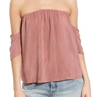 Sun & Shadow Off the Shoulder Washed Top | Nordstrom