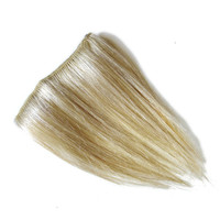 Blond Hair Extensions - Platinum Blond and Strawberry Blond Clip-In Bangs/Fringes