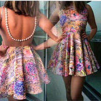 Sexy Women's Fashion Print Hollow Out Sleeveless One Piece Dress [6338825857]