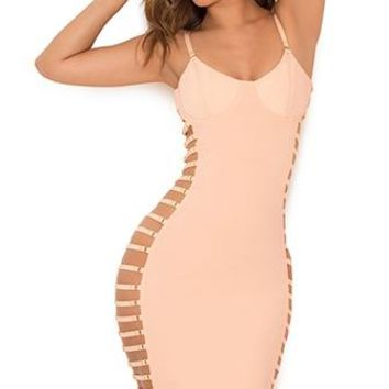 Fast Times Pink Sleeveless Spaghetti Strap V Neck Cut Out Side Bustier Bodycon Midi Dress