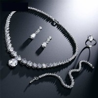 Clear Waterdrop & Round Cubic Zirconia Bridal Wedding Jewelry Set