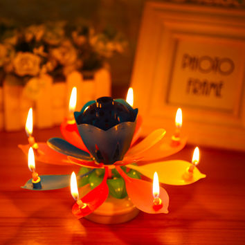 Art Musical Candle Colorful Lotus Flower Happy Birthday Party Cake Topper Gift Rotating Lights Decoration Candles Lamp