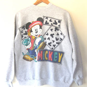 90s Hip Hop Mickey Mouse Sweatshirt - Kriss Kross x Disney Mickey Throwback Oversized Sweatshirt