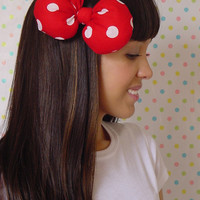Big Large Minnie Mouse Hair Bow Clip Red with White Polkadots