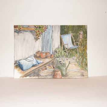 Garden illustration of plant pots and a garden chair - Outdoor illustration - Blue pillow - Terracotta pots - Not a print - Nature art