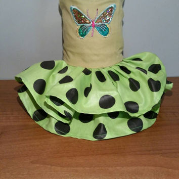 Dog dress - handmade - size xsmall dog dress - chihuahua dress - pet clothing - clothes for girl dog - butterfly dog dress