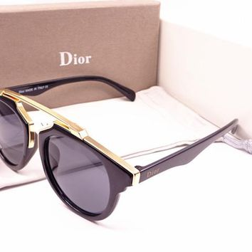 Dior Round Glasses Mirrored Flat Lenses Street Fashion Metal Frame Women Sunglasses [2974244684]