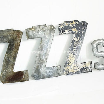 Antique Metal Marquee Letters ZZZs Vintage Marquee Rustic Industrial Shop VintageEmbellishment